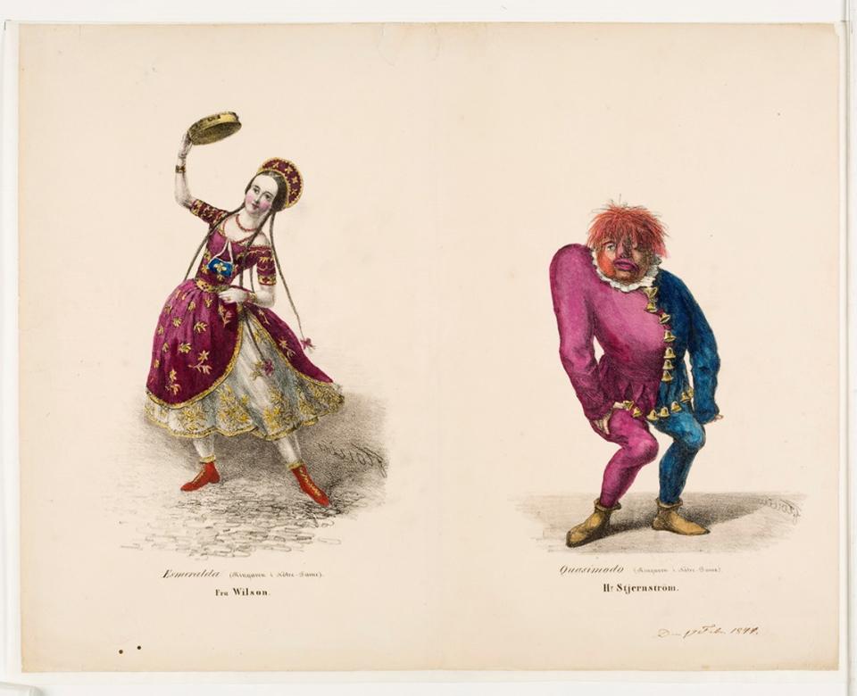 Illustration av Esmeralda och Qasimodo