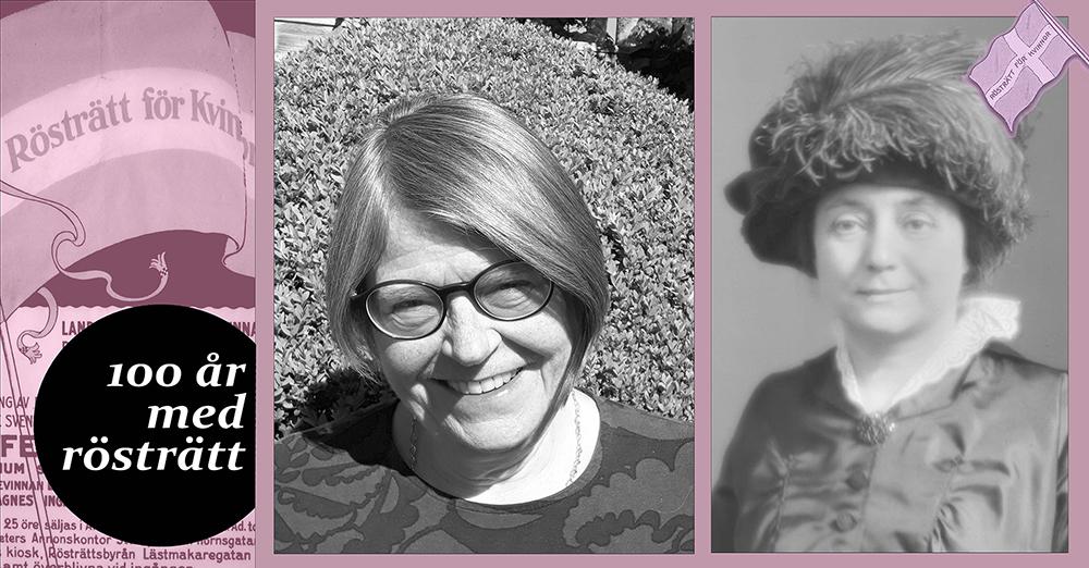 Bild på två kvinnor med en bakgrundsbild på en fana